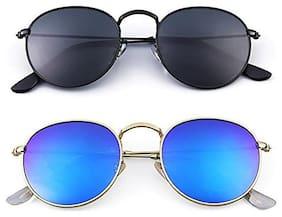 D Debonair Combo set of Stylish Pento Sunglasses(Round-Black-Blue)