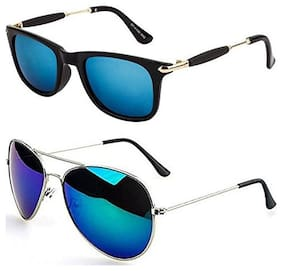 D DEBONAIR Unisex & Men Mirrored Lens Wayfarers - Pack Of 2