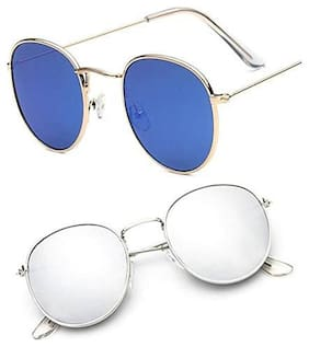 D DEBONAIR Mirrored lens Round Frame Sunglasses for Men - 2