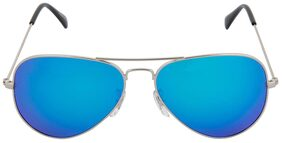 David Martin Silver & Blue Mercury/Mirrored (UV 400 Protection) Stylish Unisex Aviator Sunglass (Medium Size).