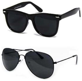 David Martin Black Aviator Sunglass + Free Black Wayafarer Unisex (UV PROTECTED) (Medium Size)