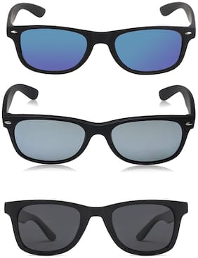 David Martin Black & Blue Mirrored + Black & Silver Mirrored + Black Wayfarer 3 PCS (UV PROTECTED) Unisex Sunglasses