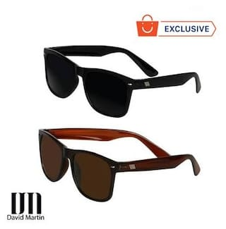 099cb4910eb56 Buy David Martin Combo of Black   Brown Wayfarer Sunglass Online at ...