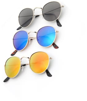 Davidson Combo of Mirrored Lens Round Sunglasses