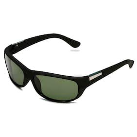 Debonair Black Sports Wrap Around Sunglass with UV 400 Glass Lens