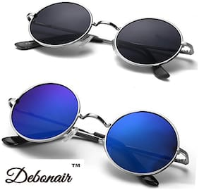 Debonair Combo set of Stylish Mirrored/Mercury Sunglasses(Round-SilverBlack-Blue)