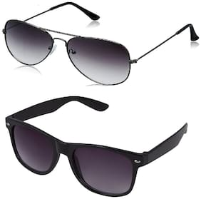 Debonair Grey Aviator Sunglass + Free Black Wayfarer (UV PROTECTED) Sunglass