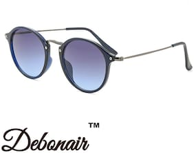 Debonair UV Protected Round Sunglasses For Men And Women-Blue Lens