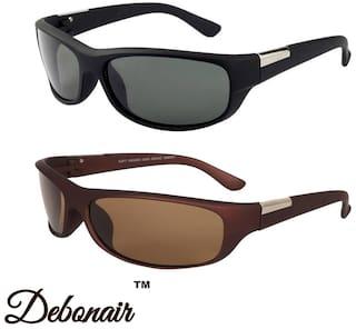 d485ec69fc6 Buy Debonair Combo of Wrap Around Men s Sunglasses -(Black