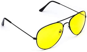 Dervin Night Vision Black Frame Men Women Aviator Sunglasses for Driving/Shooting (Yellow Lens) - Perfect for Any Weather