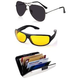 Ediotics Black Aviators And Wrap Around And Wallet