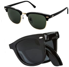 Ediotics Clubmaster and Folding Wayfarer Combo Sunglass (Size-Medium)