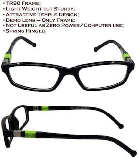 Els Black & Green Rectangle Eyeglasses for Kid's