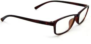Els Brown Rectangle Full Rim Eyeglasses for Men - 1 piece antiglare eyewear frame & 1 wiper cloth and 1 hard case box