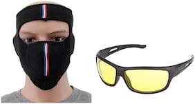 Fashno Ninja Face Mask & Yellow Night Drive Pack of 2