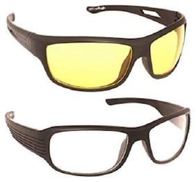 Fashno Pack of 2 Night Vision Sunglasses - Yellow and White(Medium Size)