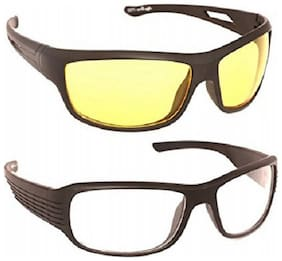 Fashno Pack of 2 Night Vision Sunglasses - Yellow and White(Medium Size)