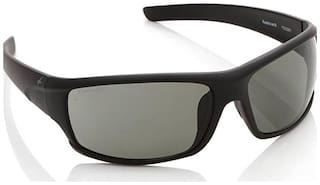 Fastrack Black sporty wrap sunglasses with green lenses