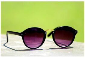 Flat Round Dark Sunglasses Black for Men Women