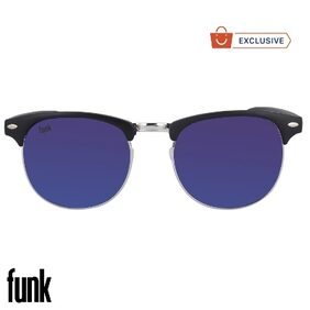 FUNK Blue Mercury/Mirrored (UV 400 Protection) Stylish Unisex ClubMaster Sunglasses In Rubber Finish (FUNK Reflector Series)