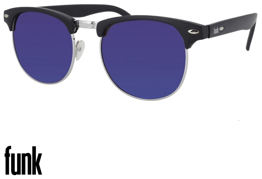 d739165539 Buy FUNK Blue Mercury Mirrored (UV 400 Protection) Stylish Unisex ClubMaster  Sunglasses In Rubber Finish (FUNK Reflector Series) Online at Low Prices in  ...