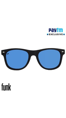 Funk Blue Mercury/Mirrored (UV 400 Protection) Stylish Unisex Wayfarer Sunglasses In Rubber Finish (Funk Reflector series).