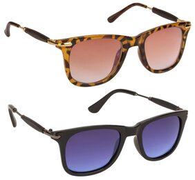 Gansta UV Protected Combo of Jet Black & Demi Brown Wayfarer sunglasses for Men & Women (GN11096-Gun-Blu-DA 54 Blue / Brown Lenses)