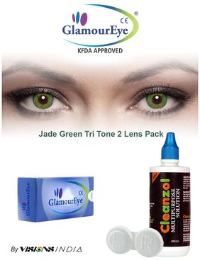 GlamourEye Jade Green Color Monthly Disposable Contact Lens with Lens Care Kit (2 Lens Pack) By Visions India