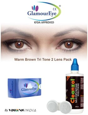 GlamourEye Warm Brown Color Monthly Disposable Contact Lens with Lens Care Kit (2 Lens Pack) By Visions India