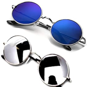 HH Unisex UV protected Square Men's Womens Boys and Girls Sunglasses Combo Round Blue Mercury And Silver Reflector