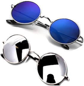HH Mirrored lens Round Frame Sunglasses for Men - 2