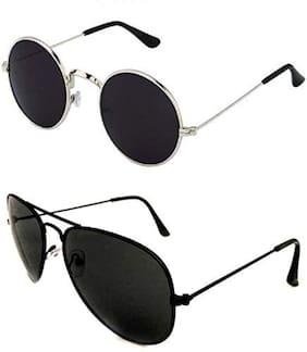 HH UV Protection Round, Aviator Sunglasses (Black)