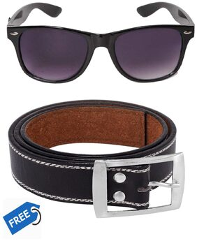 HH UV Protected Black Wayfarer Sunglass With Free leather Belt For Men