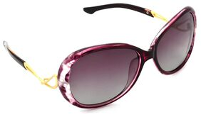 Hrinkar Violet and Golden UV Protection Rectangular polarized Sunglasses ( HRS442-PNK-PNK )