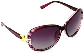 Hrinkar Violet and Golden UV Protection Rectangular polarized Sunglasses ( HRS444-RDCLR-PNK )