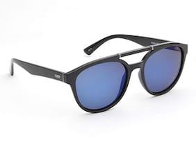 IDEE Mirrored Round Men's Sunglasses - (IDS2424C4PSG 55 White Mirror-Smoke Color Lens)