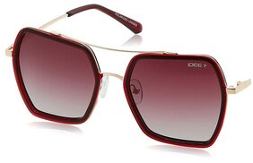 IDEE Polarized Square Women'S Sunglasses - (Ids2205C3Psg|53|Burgundy And Grey Gradient Color)