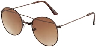 Imported Copper Brown Round Bar Unisex Sunlgasses - SS1420