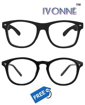 Ivonne ARC Coated Clear Wayfarer Sunglass With Free Round Clear Sunglass