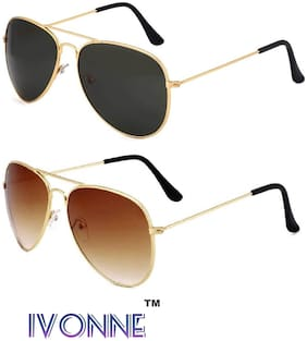 Ivonne Combo Of Black & Brown Aviator Sunglasses