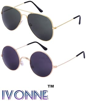 Ivonne Multicolor UV Protected Unisex sunglasses Pack of 2