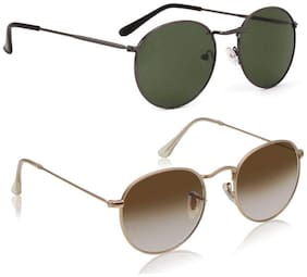 Ivonne Mirrored lens Round Frame Sunglasses for Men - 2