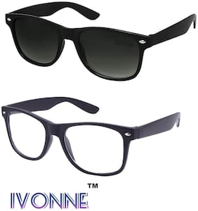 Ivonne Combo of Black Wayfarer and Clear Wayfarer for Men and Women