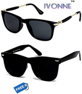 Ivonne UV Protected Black Wayfarer Sunglass With FREE Black Wayfarer Sunglass