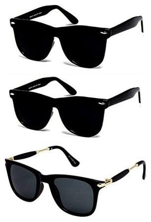 Ivonne UV Protected Wayfarer Men's and Women's Sunglasses with 3 Hard Boxes (3IN1-0075, 55, Black) - Combo Set of 3