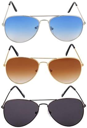 Ivy Vacker Regular lens Aviator Sunglasses for Men , Combo of 3