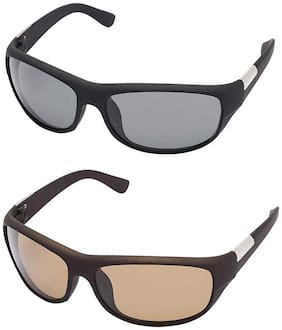 Ivy Vacker combo of black & brown wrap around sunglasses for men