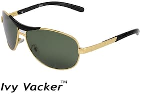 Ivy Vacker Glass Lens Golden Green Rectangular Sunglasses for Men