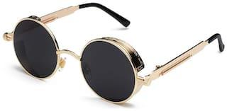 Ivy Vacker Men UV Protected Black Round Sunglasses Medium