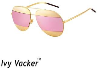 f22a5513e8 Ivy Vacker Split Dior Golden Pink Mirrored Aviator Sunglasses for Women